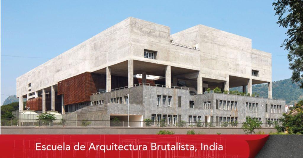 Escuela en India de concreto con Arquitectura brutalista